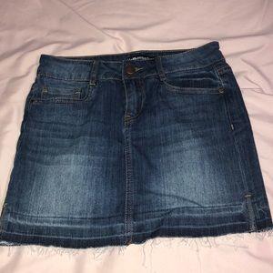 Denim Mini Skirt with Raw Hem. NEVER BEEN WORN!